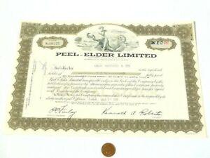 Pictorial 1969 Peel-Elder Limited Ontario 10 Share Certificate