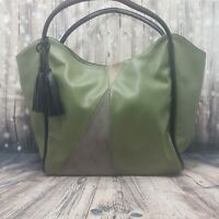 Lionel Bags Olive Green Vegan Leather Tote Bag With Tassel