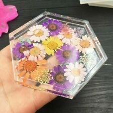 DIY Hexagon Coaster Resin Casting Mold Silicone Jewelry Pendant Making Moulds US