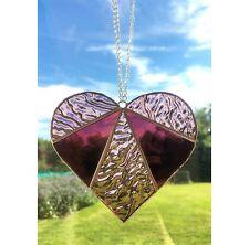 Handmade  Stained Glass Love Heart Suncatcher Tiffany Glass Technique Pink Glass