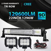 "Tri Row 22Inch 1296W + 4"" 18W LED Light Bar Spot Flood Jeep Offroad Driving Lamp"