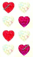 ~ Sparkle Love Hearts Pink Red Silver Heart Hambly Studio Glitter Stickers ~