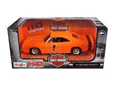 MAISTO 1:24 W/B HARLEY-DAVIDSON CUSTOM 1969 DODGE CHARGER R/T DIECAST CAR 32196