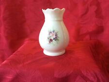 IRISH PARIAN DONEGAL CHINA 10cm  TALL VASE FLORAL SPRAY SCALLOPED RIM EMBOSSED