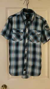 Harley Davidson Small Button Shirt Size S Blue, Black and White Plaid