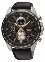 Seiko  Tachymeter Stainless Steel Case Black Leather Strap Mens Watch SSB265P1