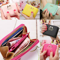 Women Bow Wallets Leather Zip Coin Purse Clutch Handbag Small Mini Card Holder