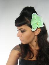 Pince clip barette cheveux fleur orchidee orchidees tissu vert pinup retro