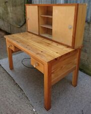 Large Bespoke Solid Chunky Pine Work Desk with removable Cabinet