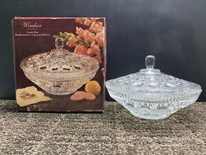 Indiana Crystal Clear Glass Windsor Pattern Candy Dish with Lid