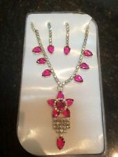 New Indian Necklace and Earrings set Pink Gold Bollywood Kids Fashion Jewellery