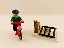 LEGO BICYCLE BOY & BIKE RACK MINIFIG FIGURE WITH DOG FIGURE RED BIKE