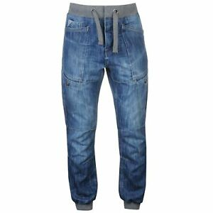 No Fear Mens Cuffed Jeans Jog Pants Trousers Bottoms Tie Fastening Elasticated