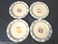 "Set of 4 Pfaltzgraff 8.25"" Salad Plates. Hopscotch w/Fruit. USA. EUC"