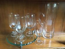 Charleston Susquehanna Pineapple Etched Cocktail Set, 6 Pieces, EUC