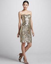 $425 Badgley Mischka Sequined Strapless Cocktail Dress Gold Sequin gown XS XXS 0
