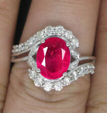 14KT White Gold Natural African Red Ruby 1.80Ct EGL Certified Diamond Ring