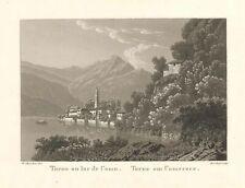 Veduta antica e originale Lago di Como Torno Rordorf  1830ca