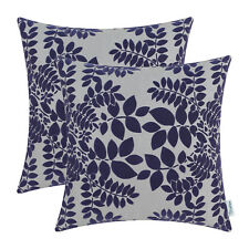 2Pcs Cushions Covers Pillows Cases Flocking Cute Leaves Grey Navy Blue 45cmx45cm