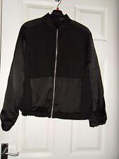 Ladies Topshop Black Matt and Shine Bomber Jacket Size 8