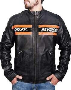 Men's Harley Davidson Passing Link Genuine Cowhide Leather Distressed Jacket