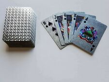 2 Standard Silver Foil Plaid Style Poker Deck Waterproof Plastic Playing Card