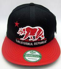 CALIFORNIA REPUBLIC Snapback Cap Hat CALI CA Black Red Faux Leather Visor NWT