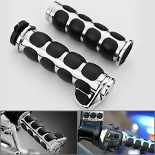 "7/8"" 22mm Manopole Motorcycle Handlebar Custom Chrome Billet Cap Hand Grips"