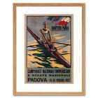 Sport Rowing Canoe Padova Italy Regatta Vintage Advert Framed Wall Art Print