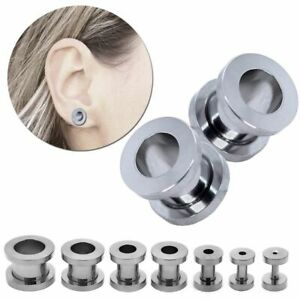 Size or Set Flesh Tunnel Plug Ear Piercing to Screw Silver 1,6 2 3 4 5 6 8 10 mm