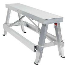 Walk-Up Bench Sawhorse Work Garage Adjustable Height Drywall Aluminum Heavy Duty