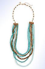 PANACEA Multi-Strand Wood & Turquoise-Colored Howlite Stone Beaded Necklace
