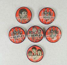 Complete Set 6 Red John Paul Ringo George Beatles Vari-Vue Flicker Buttons Pins