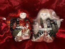 2 KIMEKOMI KABUKI DOLL Japanese Vintage Miniature Gofun Silk Geisha Kimono