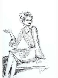 Original artwork Ink and pencil drawing. Portrait of a woman. collectible art