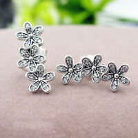 Authentic 100% 925 Sterling Silver Dazzling Daisies Clear CZ Stud Earrings