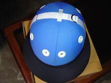 COTTON TWILL POLO HELMET, Horse Ridding Helmet, Safety Helmet Royal Blue/Black