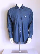 vtg 70s DEADSTOCK wrangler indigo rockabilly western CHAMBRAY denim work shirt L