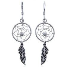 Silver hook earrings 14mm Dream Catcher & Antiqued silver feather 925 sterling