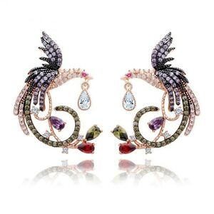 Multi Coloured Parrot Earrings Micro Paved Cubic Zircon Stud Earrings Jewelry