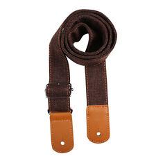 More details for cotton linen guitar strap adjustable belt for guitar ukulele bass (coffee) uk
