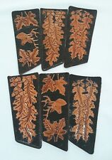 HANDMADE STAMPED LEATHER CRAFT FOR KNIFE, BLACK/BROWN, MAPLE LEAVES, DEER