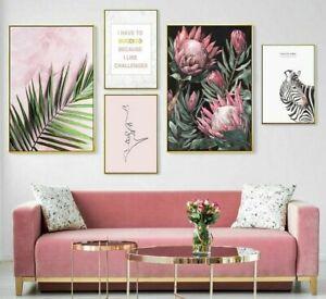 Rose Décoration Murale Feuilles Fleurs Toile Peinture Posters Et de Chambre