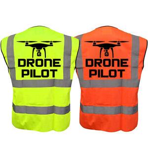 DRONE PILOT Hi-Vis Hi-Viz Visibility Safety Vest QUADCOP Waistcoat Yellow Orange