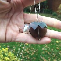 DESIGNER SMOKY QUARTZ NECKLACE STERLING SILVER LARGE HEART HANDMADE JEWELRY GIFT