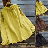 Women Cotton Vintage Shirt Tops Long Sleeve Casual Plain Blouse Pleated Tops