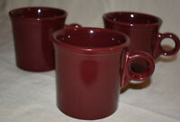 Fiesta Ware Cinnabar Maroon set of 3 Coffee Mugs Cups Fiestaware