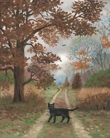 8x10 PRINT OF PAINTING LANDSCAPE BLACK CAT VINTAGE STYLE RYTA HALLOWEEN GOTH ART