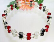 BEZAUBERNDE KETTE Halskette Perlen crash crackle  schwarz weiß rot silber 381b