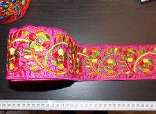 80mm cinta de color rosa bordado Adorno Indio Decoración asiática Apliques Sari Con Apliques